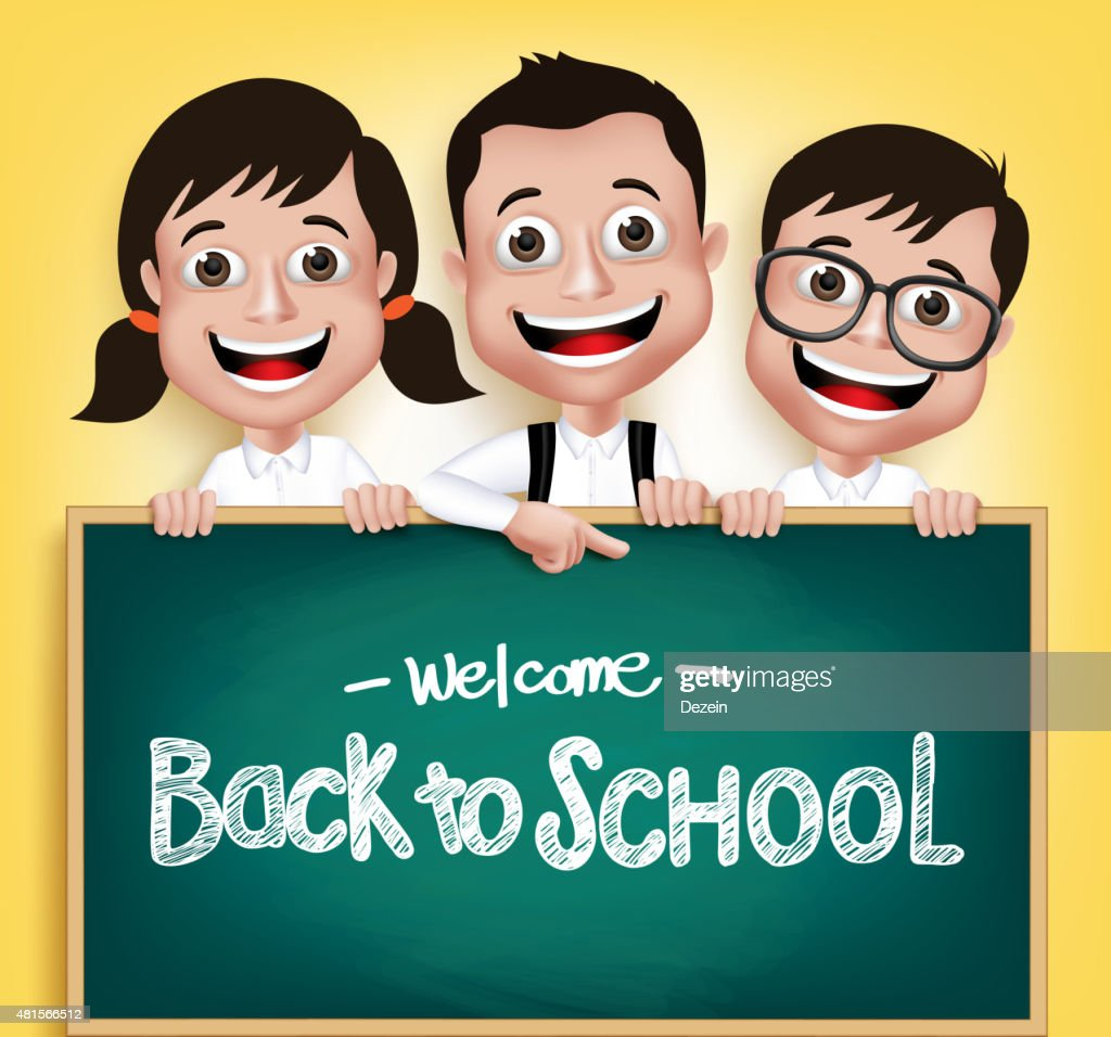 3D Realistic Children Student Boys and Girls Happ Holding Blackboard