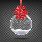 Realistic Christmas Ball Vector. Shiny Glass Xmas Holidays Tree Toy With Snowflake And Red Bow. Isolated On Transparent Background Illustration