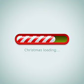 Realistic christmas candy cane progress bar on light background