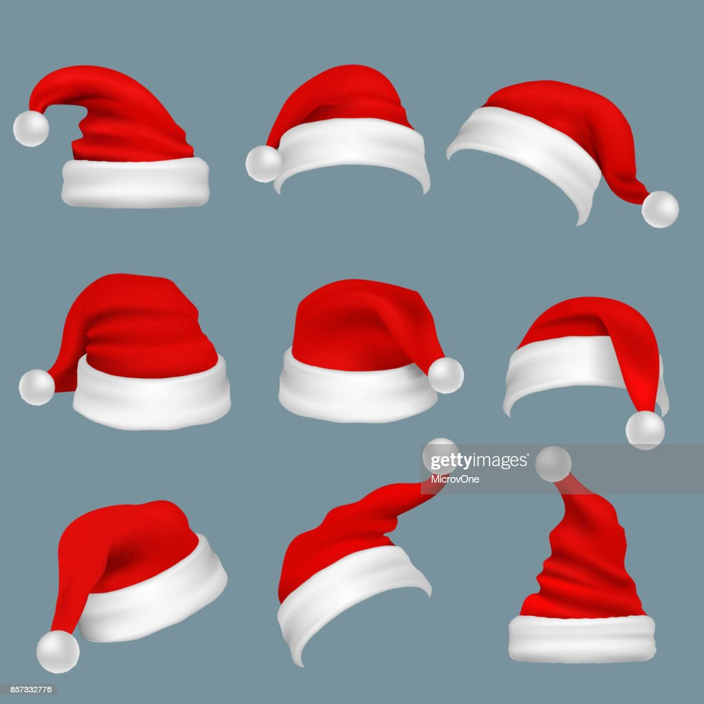 Realistic christmas santa claus red hats isolated vector set