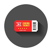 Realistic cinema ticket icon in flat style. Admit one coupon entrance vector illustration with long shadow. Ticket business concept.