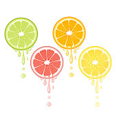 Realistic citrus slice set with leaves and drops of juice. Juicy lemon grapefruit lime and orange fruit.