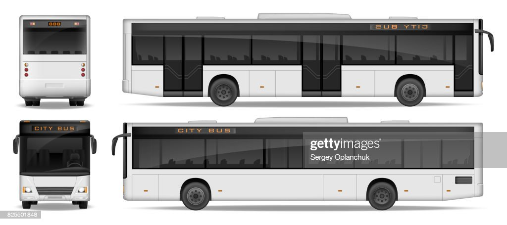 Realistic City Bus template isolated on white background. Passenger City Bus mockup side, front and rear view. Transport advertising design. Vector illustration