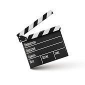 Realistic clapper.cinema.Board on a white background.film.time