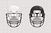 Realistic classic american football helmet set - black and white color. Isolated on transparent background. Front view. Design template closeup in vector. Mock-up for branding and advertise