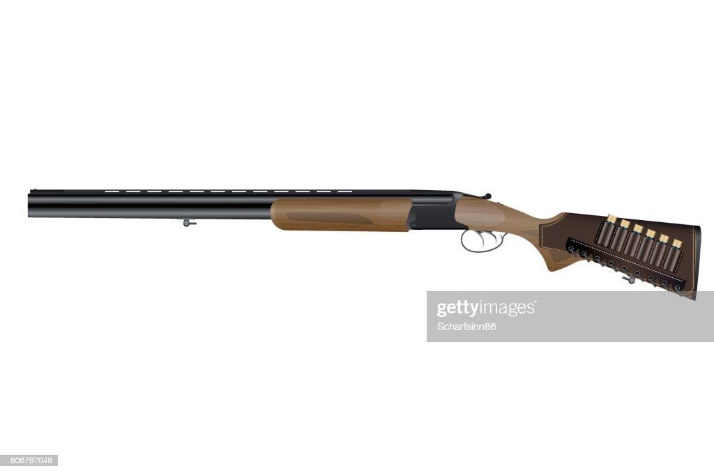 Realistic classic vertical two barrels hunting rifle.