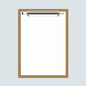 Realistic clipboard with paper and pencils.