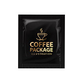 Realistic coffee or cocoa sachet. Vector mock up template. Product packaging on white background
