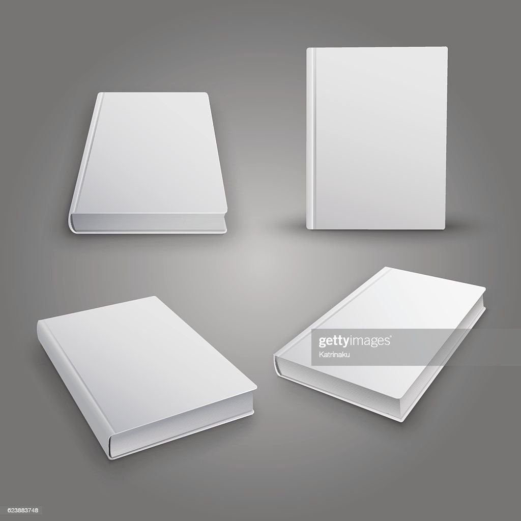 Realistic collection of 3d books with white cover. Mock Up