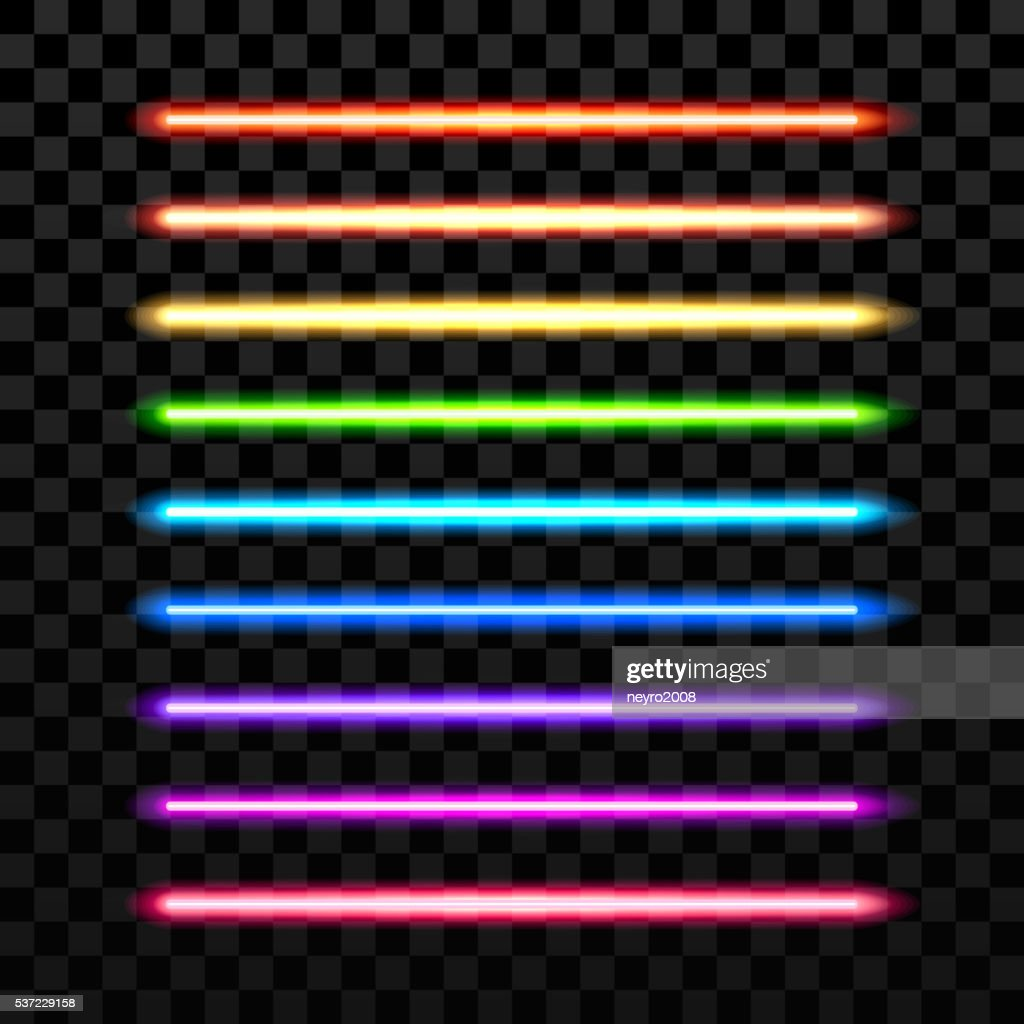 Realistic colorful laser vector beam on transparent dark background