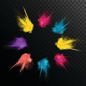 Realistic colorful paint powder explosions on black/transparent background.