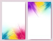 Realistic colorful paint powder explosions on white background.