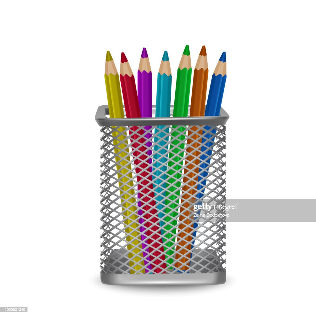 Realistic colorful pencils office and stationery in the basket
