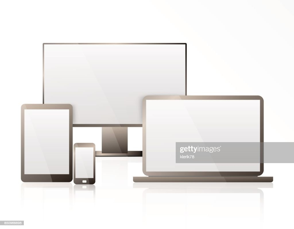Realistic Computer, Laptop, Tablet and Mobile Phone with Transparent Wallpaper Screen Isolated. Set of Device Mockup Separate Groups and Layers. Easily Editable Vector