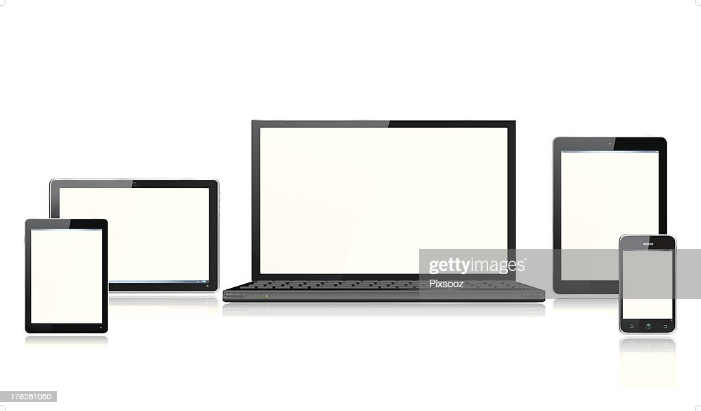 Realistic Computer Mobile Devices with Laptop Tablet and Smartphone