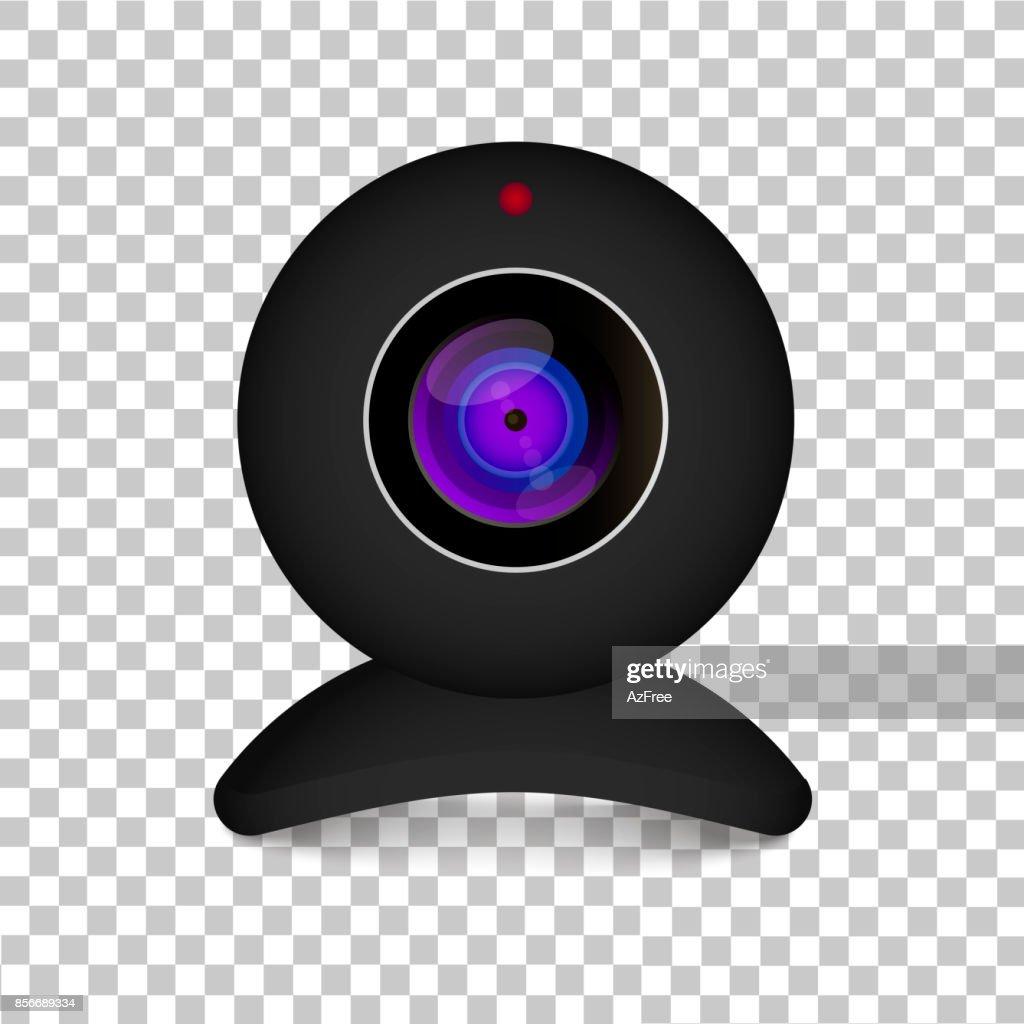 Realistic computer web cam on transparent background. Illustration on white background