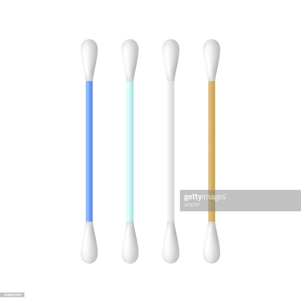 Realistic cotton ear swab set. Vector illustration.