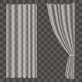 Realistic Curtains on Transparent Background. Vector