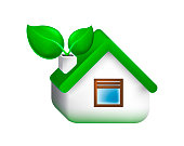 Realistic Cute Gren House Icon on White Background