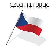 Realistic Czech flag, vector illustration