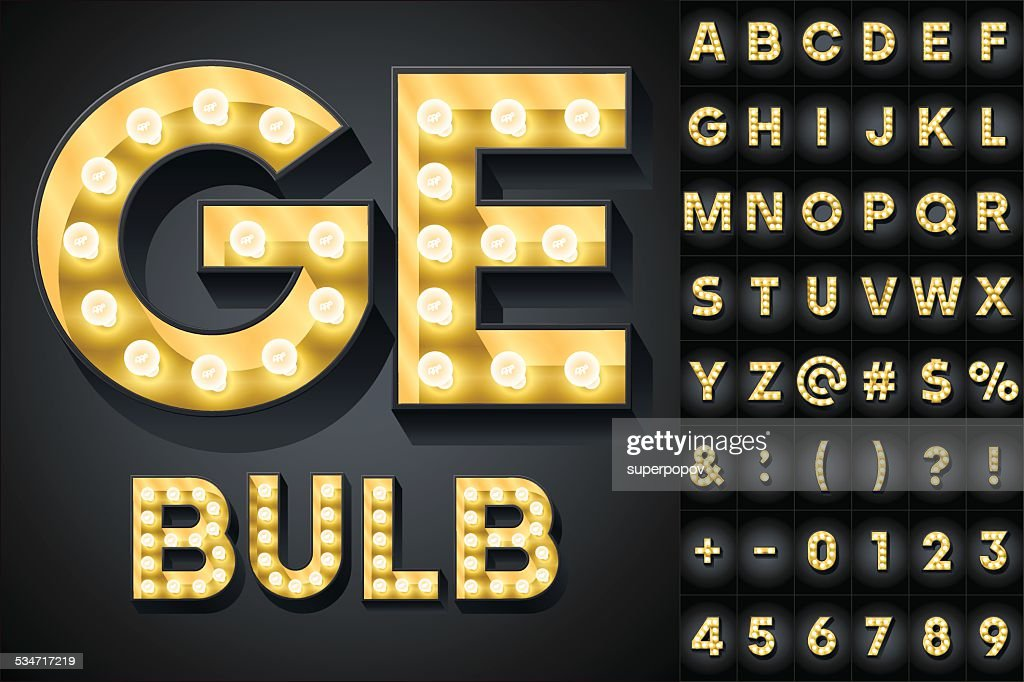 Realistic dark lamp alphabet for light board