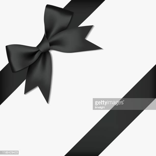 illustrations, cliparts, dessins animés et icônes de arc et ruban noirs brillants réalistes de ruban de satin de satin, d'isolement sur le fond blanc - couleur noire