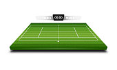 Realistic Denim texture of Tennis field 3d with score board for element vector illustration design concept