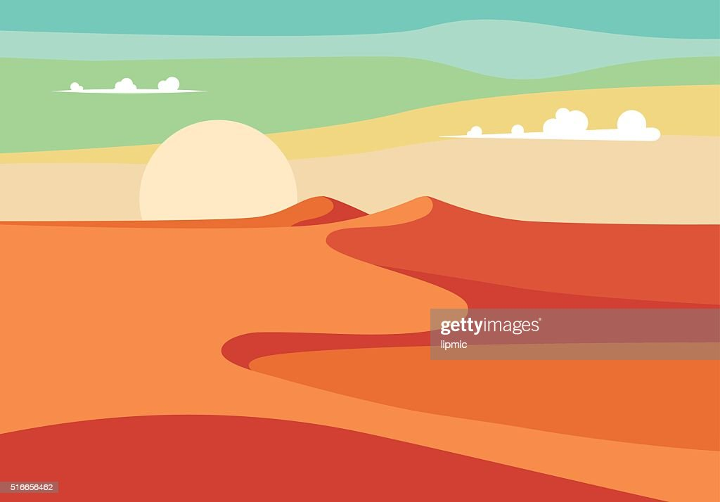 Realistic Desert Sands in Middle East. Editable Vector Illustration