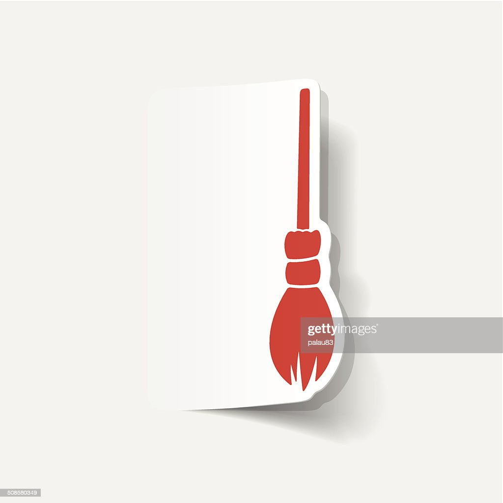 realistic design element: witch broom : Vector Art