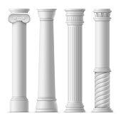 Realistic Detailed 3d Ancient Columns Set. Vector