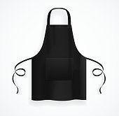 Realistic Detailed 3d Black Blank Kitchen Apron Template Mockup. Vector