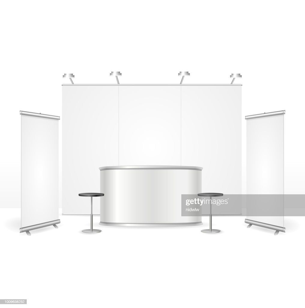 Realistic Detailed 3d Blank Exhibition Stand. Vector