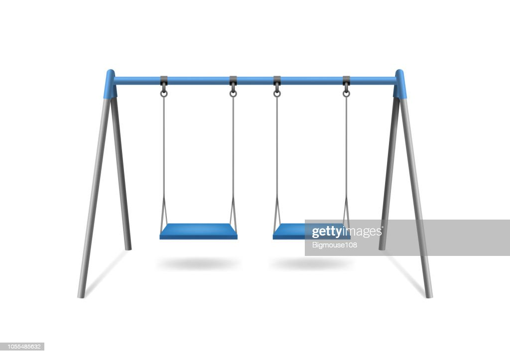 Realistic Detailed 3d Classic Outdoor Swing. Vector