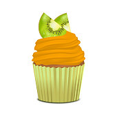 Realistic Detailed 3d Cupcake with Kiwi. Vector