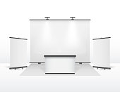 Realistic Detailed 3d Exhibition Stand Design Set. Vector