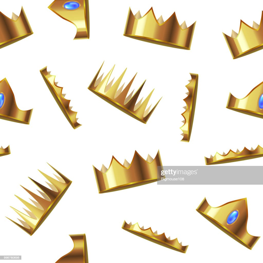 Realistic Detailed 3d Golden Crown Seamless Pattern Background. Vector