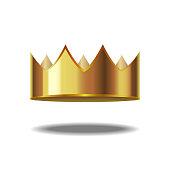Realistic Detailed 3d Golden Crown. Vector