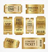 Realistic Detailed 3d Golden Tickets Set. Vector