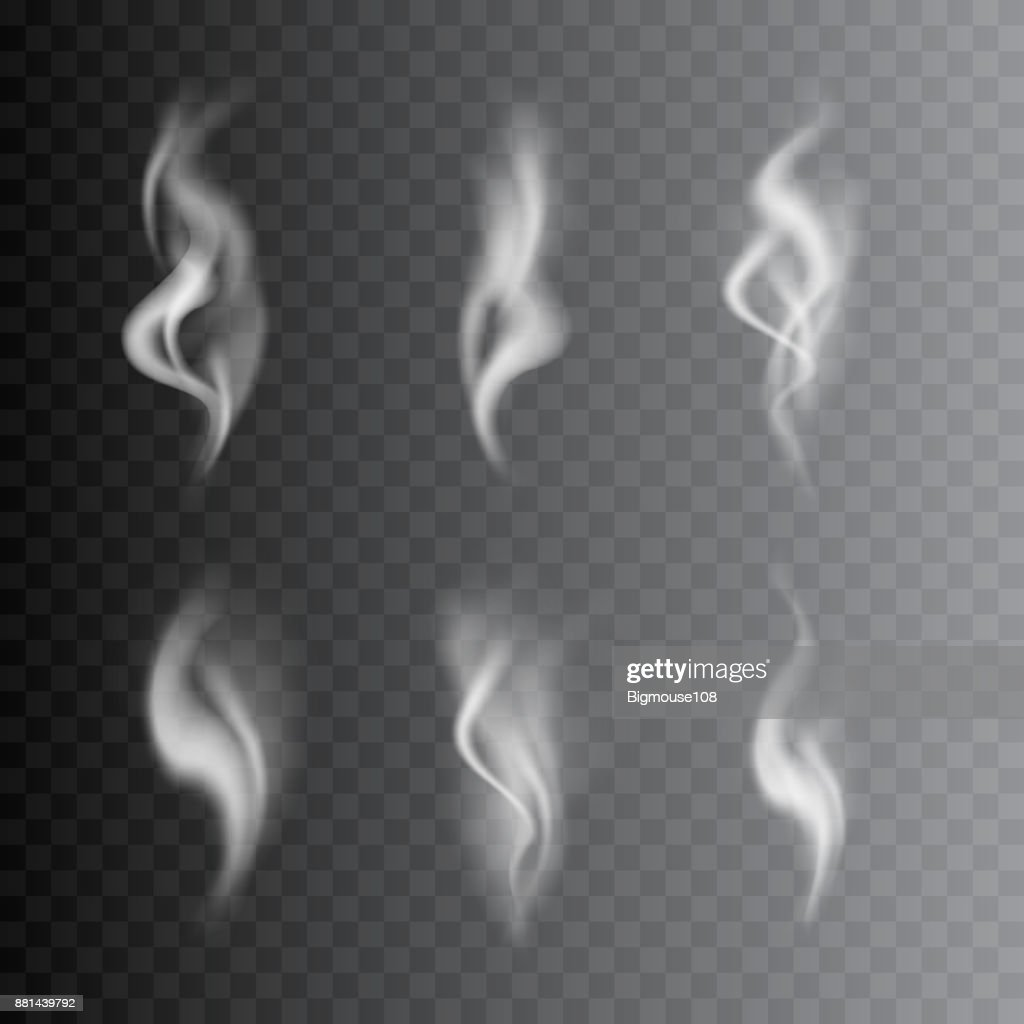 Realistic Detailed 3d Images Smoke Set. Vector
