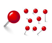 Realistic Detailed 3d Red Push Pins Different Angles Set. Vector