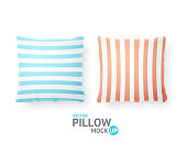 Realistic Detailed 3d Striped Pillows. Vector