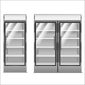 Realistic Detailed 3d Supermarket Freezer Set. Vector