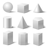 Realistic Detailed 3d White Basic Shapes Set. Vector