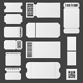 Realistic Detailed 3d White Blank Tickets Template Mockup Set. Vector