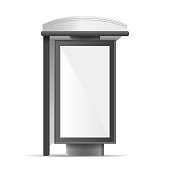 Realistic Detailed 3d White Mockup Billboard Bus Stop. Vector