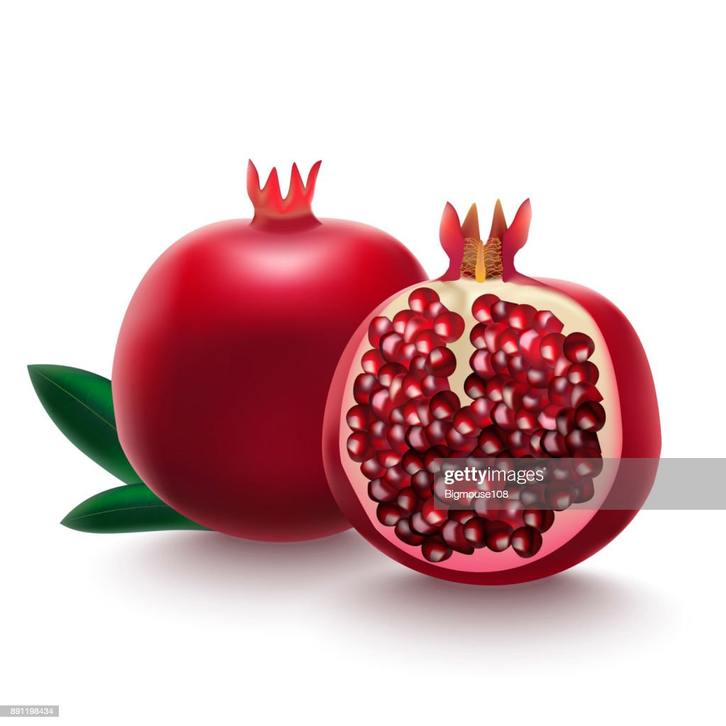 Realistic Detailed 3d Whole Pomegranate with Half Vector