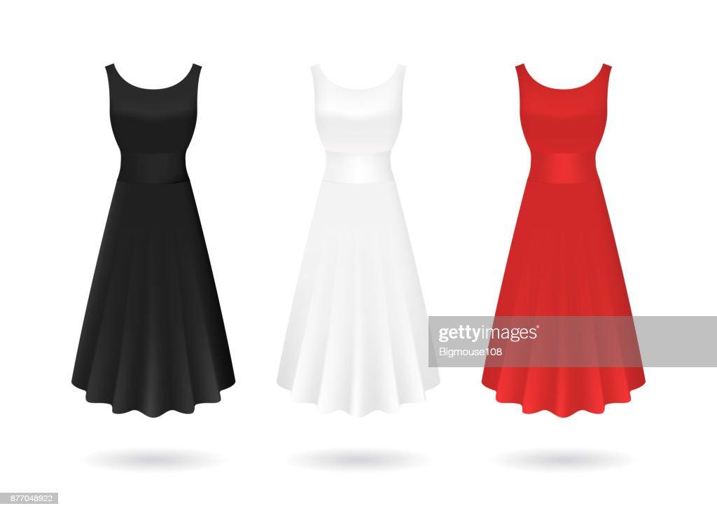 Realistic Detailed 3d Women Dress Mock Up Set. Vector