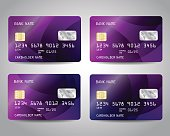 Realistic detailed credit cards set