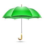 Realistic Detailed Green Umbrella. Vector Illustration