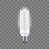 Realistic Detailed Light Bulb on a Transparent Background. Vector